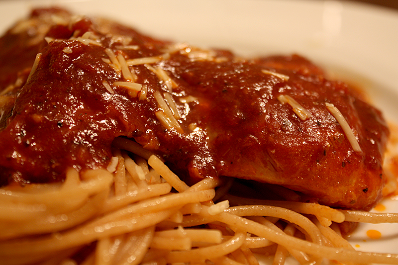 Rhinoceros Elbows (Balsamic Chicken) with spaghetti and parmesan