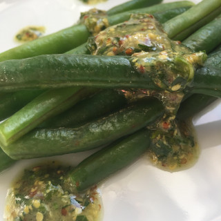 green beans with stoneground mustard and parsley vinaigrette